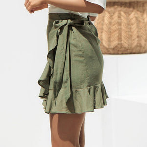 Green ruffled mini skirt