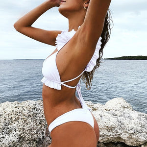 White Ruffle Bikini Set - PEACHY COLA