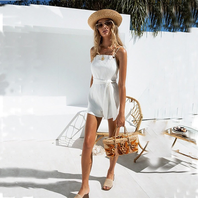 White backless playsuit