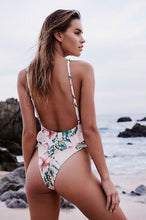 Load image into Gallery viewer, Floral backless swimsuit