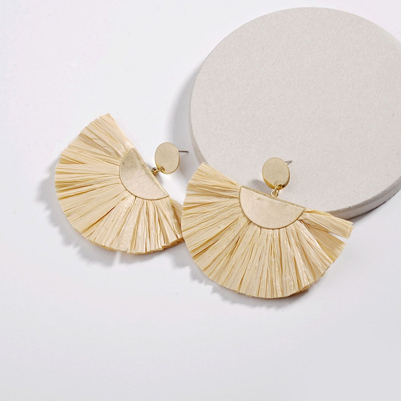 Raffia fan style statement earrings