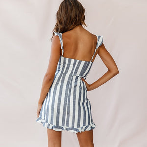 Grey stripe sun dress