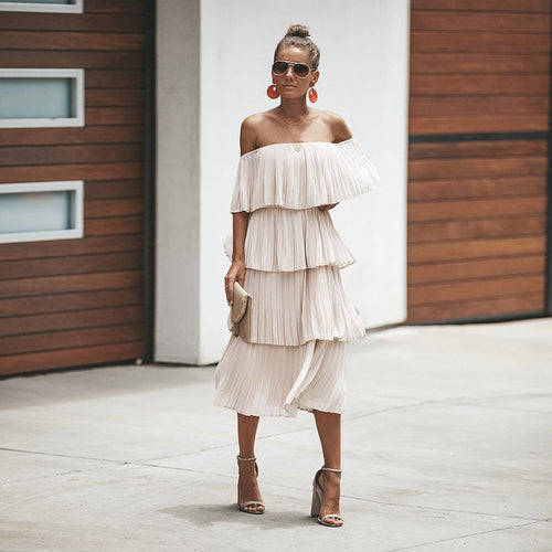 Beige pleated dress
