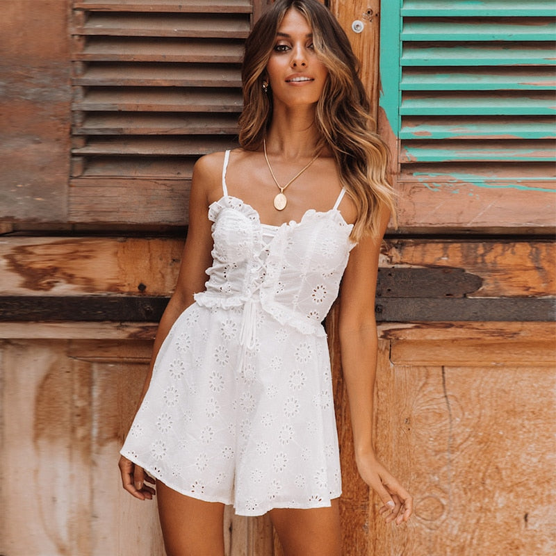 White ruffle play suit