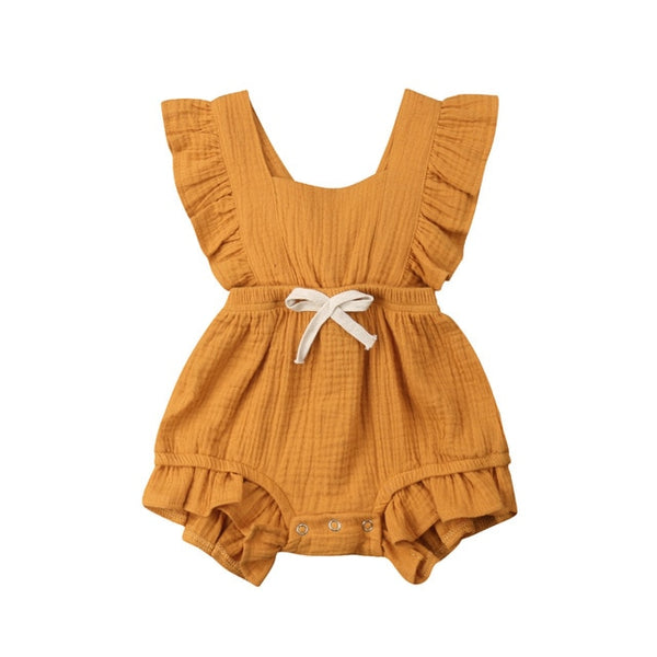 [Baby Girl Clothes] Cute Ruffle Solid Color Jumpsuit Outfits for Newborn