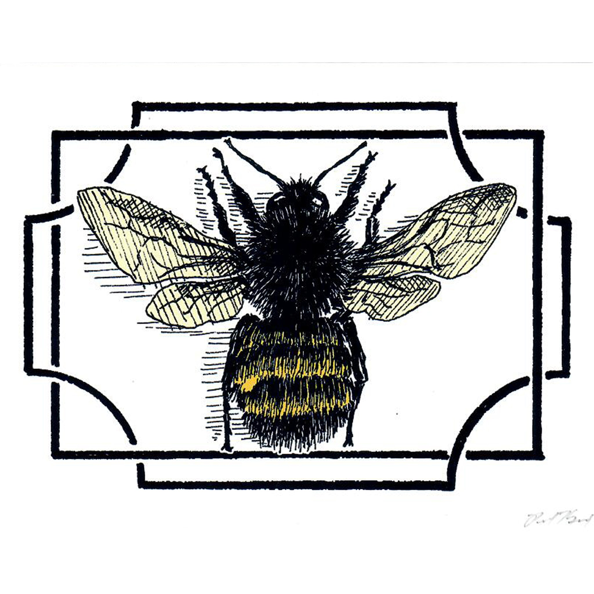 Bee Notecard, Pen and Ink Artwork by Paul Kmiotek