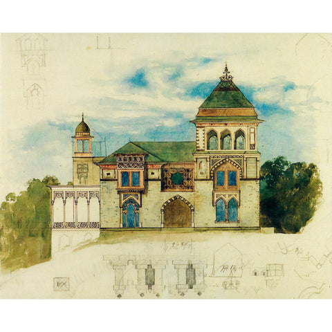 "Southwest Facade, Watercolor by Frederic Church 11""x14"" Print"