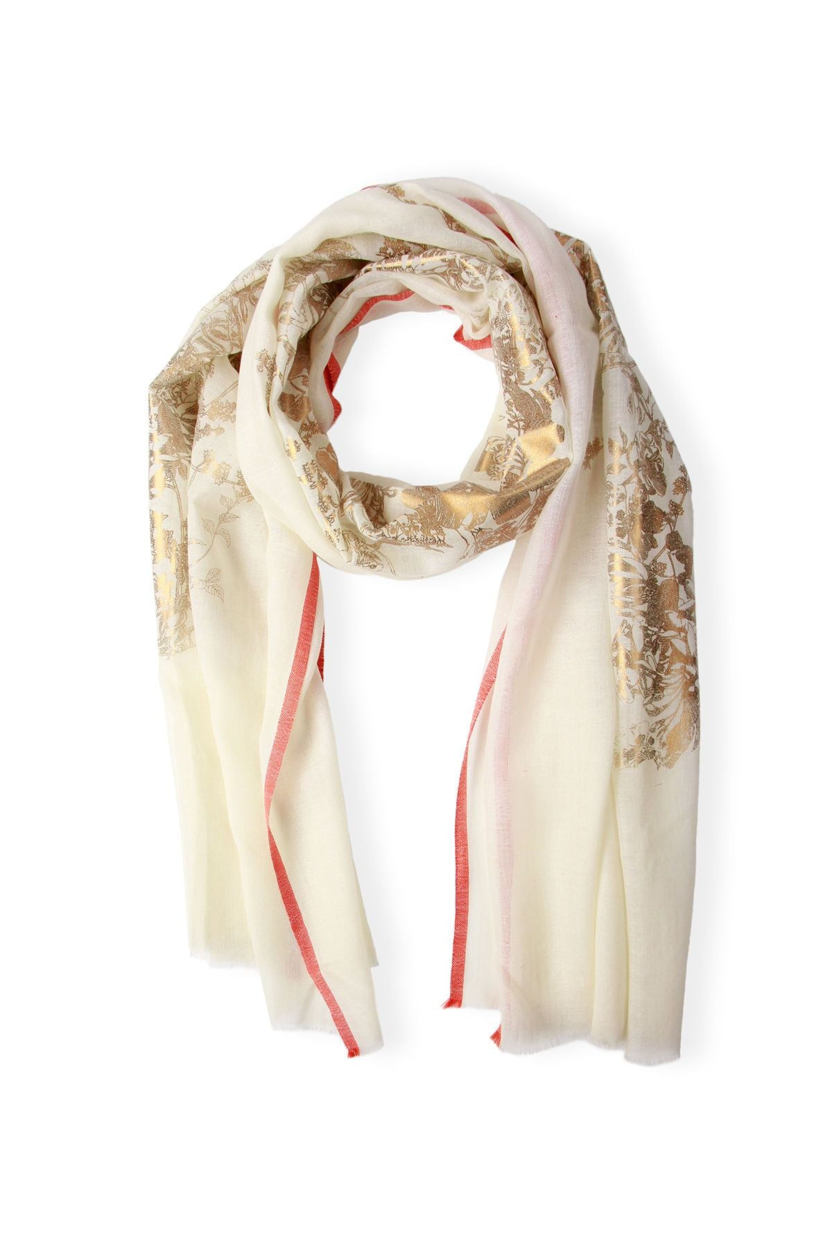 Gold Flake Floral Scarf