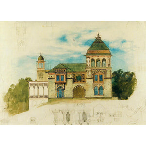 Southwest Facade, Olana Watercolor Notecard