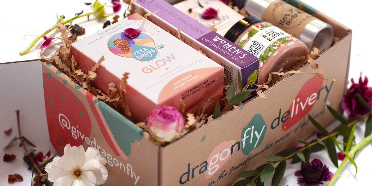 "Open Dragonfly Delivery box containing products from ""Athena"" gift"