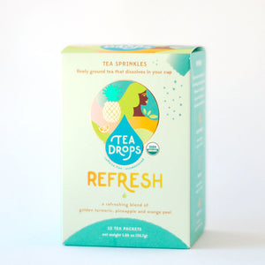 "Box of Tea Drops brand ""REFRESH"" tumeric tea sprinkles"