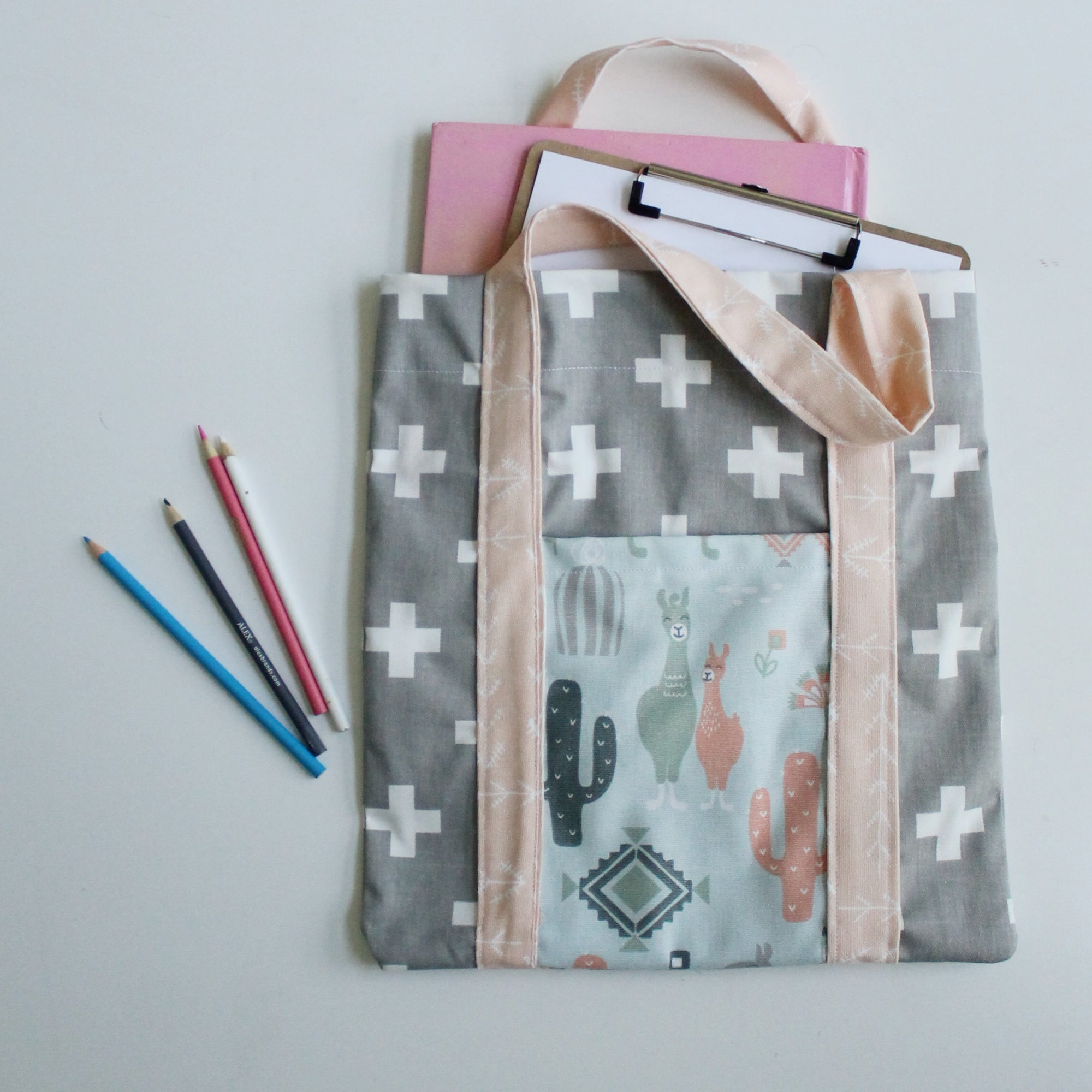 Pink and Grey Llama Tote