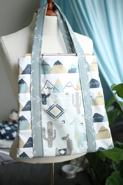 Navy and Grey Llama Tote