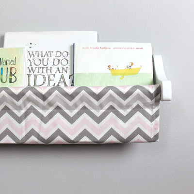 Pink, Grey and White Chevron Book Sling