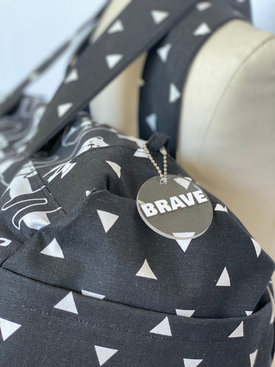 The Bravery Bag - Puppy Print - black and white