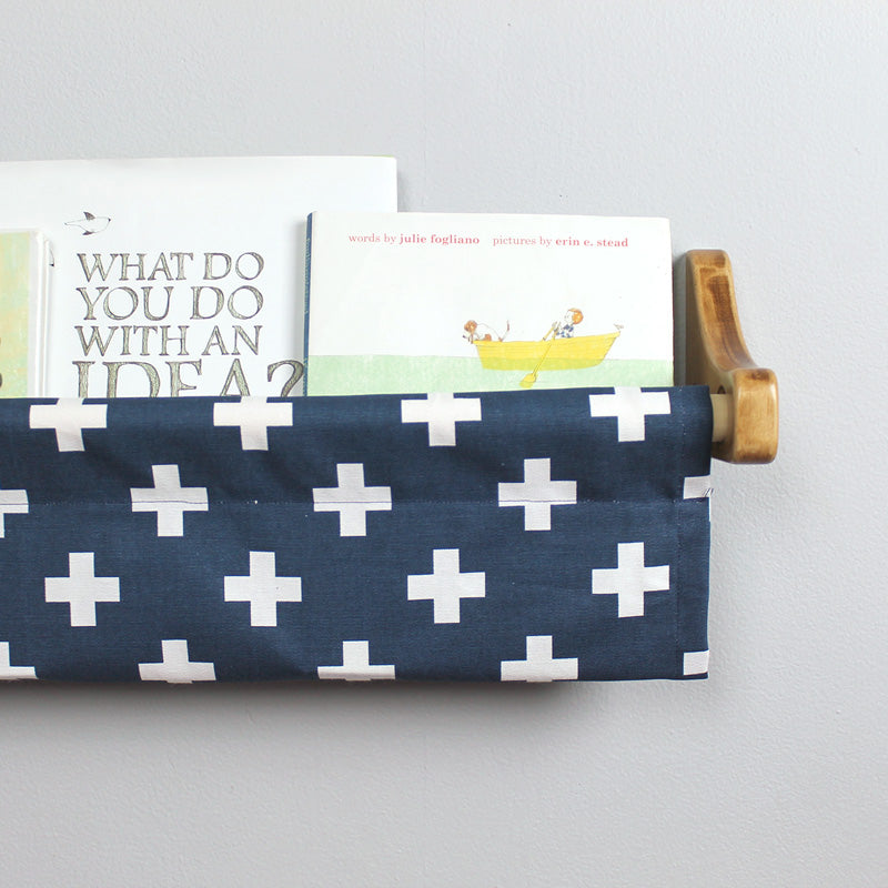 Navy and White Swiss Cross Book Sling