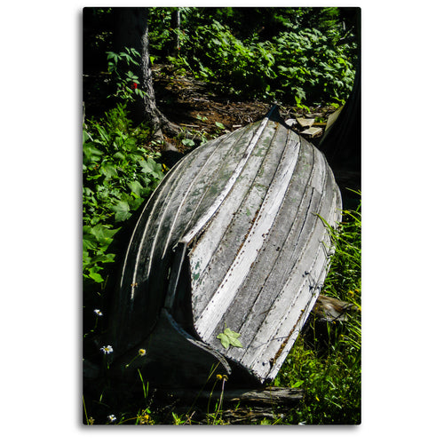 Fine Art Metal Print, Color Photography, Isle Royale, Weathered Boat