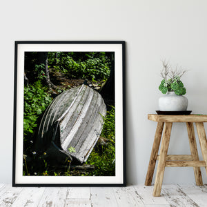 Framed Fine Art Print, Weathered Boat, Michigan, Isle Royale