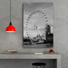 Load image into Gallery viewer, Fine Art Metal Print, Black & White, London Eye, Ferris Wheel