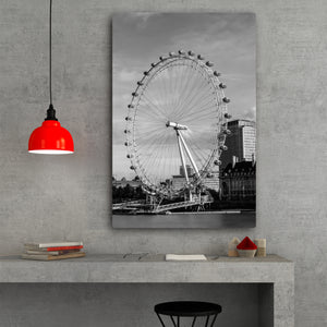 Fine Art Metal Print, Black & White, London Eye, Ferris Wheel