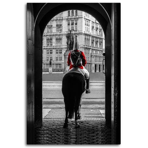 Fine Art Metal Print, Europe Photography, London Royal Guard on Horse