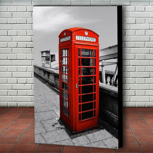 Fine Art Canvas Print, London England, Phone Booth