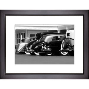 Framed Fine Art Print, Vintage Cars, Black and White