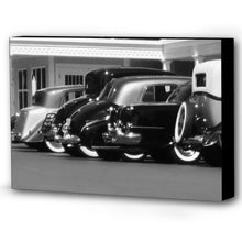 Load image into Gallery viewer, Black and White Antique Cars Canvas Print