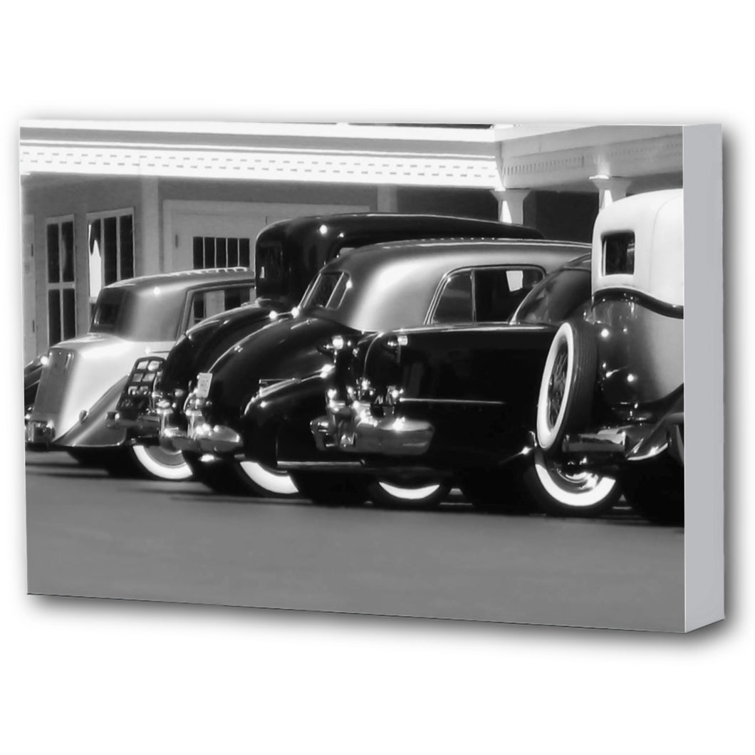 Fine Art Canvas Print, Black & White, Antique Cars