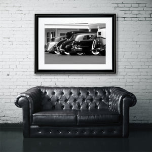 Fine Art Print, Vintage Cars, Black and White