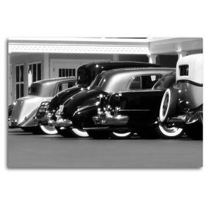 Fine Art Metal Print, Black & White, Antique Cars