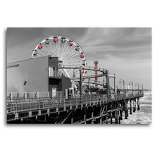 Load image into Gallery viewer, Fine Art Metal Print, Beach Photography, California, Santa Monica Pier, Ferris Wheel