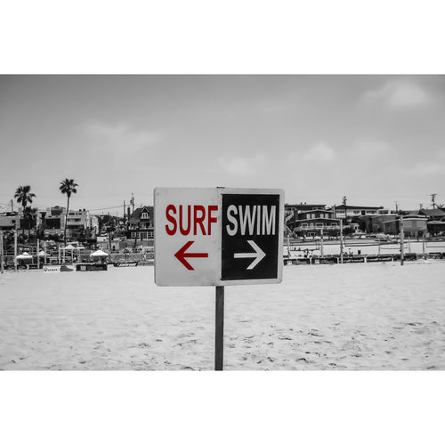 Fine Art Print, California, Beach, Surf Swim Sign