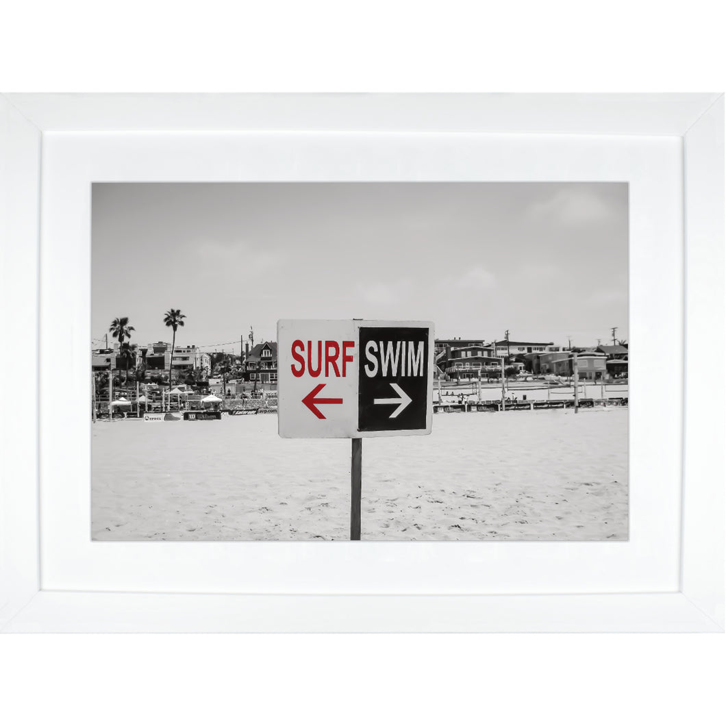Fine Art Framed Print, California, Beach, Surf Swim Sign
