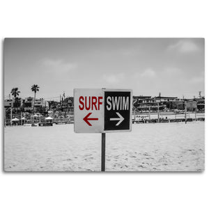 Fine Art Metal Print, Beach Photography, California, Surf Swim Sign