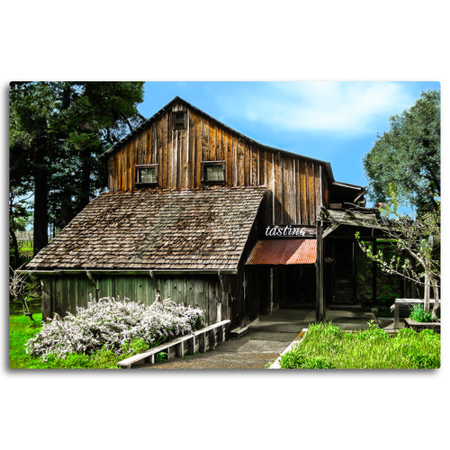 Fine Art Metal Print, Color Photography, California, Wine Country, Old Barn