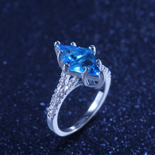 Gorgeous Blue Triangle Diamond Ring