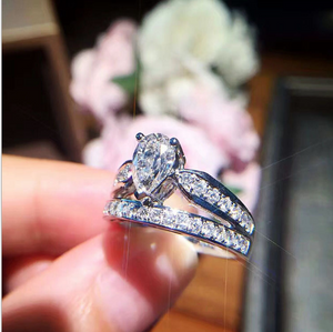 Dazzling Drop-Shaped Double Crown Ring