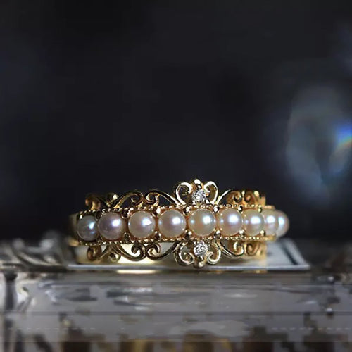 Luxury White Pearl Gold Ring