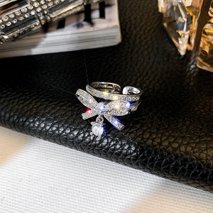 Fashion Mini Bow Crystal Ring