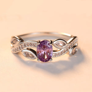 Purple Zircon Leaf-Shaped Ring