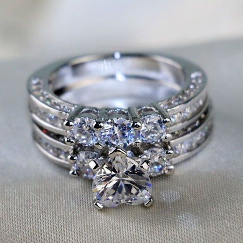 Heart Shape Three-Stone CZ Ring Set