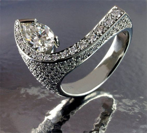 Unique Tear Drop Crystal Ring