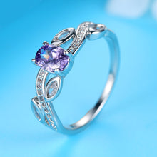 Load image into Gallery viewer, Purple Zircon Leaf-Shaped Ring