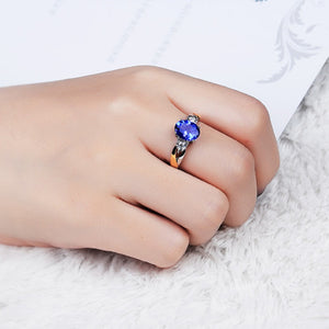 Adjustable Blue Crystal Zircon Ring