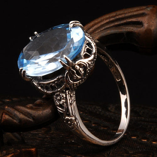 Charming Natural Water Sapphire Ring