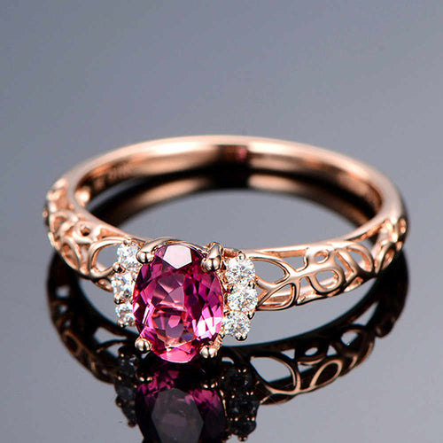 Rose Red Oval Gemstone Ring