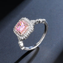 Load image into Gallery viewer, Pink Square Crystal Silver Ring