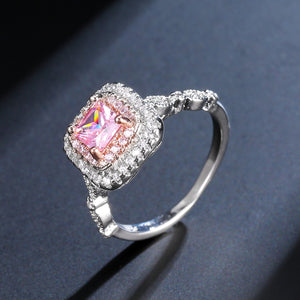 Pink Square Crystal Silver Ring