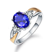 Load image into Gallery viewer, Adjustable Blue Crystal Zircon Ring